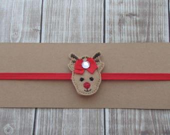 Reindeer Headband, Girls Headband, Embroidered Headband, Felt Headband, Toddler Headband, Infant Headband