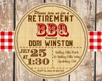 BBQ party invitations for a retirement party sar2140