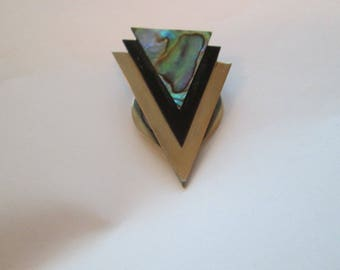Triangle Scarf Clip. Faux Abalone Scarf Clip. Art Deco Style Scarf Clip. Vintage Scarf Clip. Scarf Ring. Scarf Clasp.