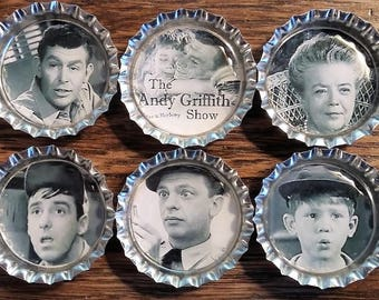 Six Andy Griffith Show Magnets on Silver Bottle Caps