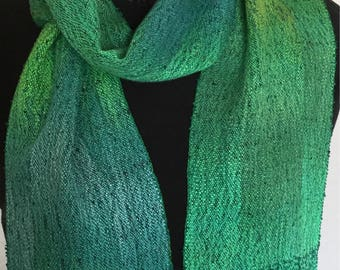 Handwoven Scarf - One Of A Kind Hand Dyed Tencel Green Scarf- Hand Woven Scarf shades of Green Happy Holidays