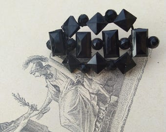 French vintage large black glass brooch art deco faceted black brooch style flower large brooch