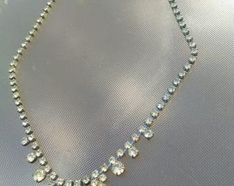 antique necklace art deco religious  silver rhinestone princesse necklace white crystal wedding diamond like necklace old sparkle necklace