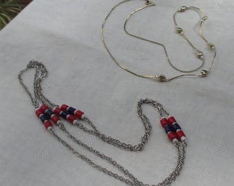 Lot Of Retro Beaded Chain Necklaces Hearts Faux Pearls Red White & Blue