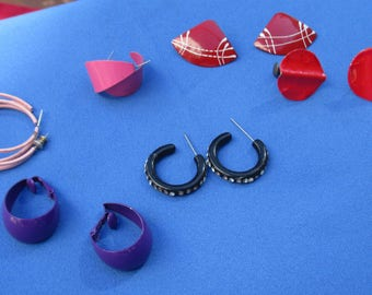 Lot Of Retro Metal & Plastic Pierced Clip On Earrings TLC