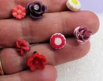 Lot Of Retro Single Odd Flower Earrings Flower Charm Pendant