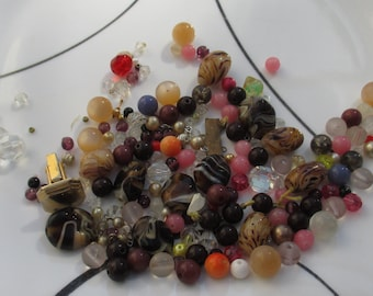 Lot Of Salvaged Assorted Beads Necklace Pieces Single Odd Cuff Link
