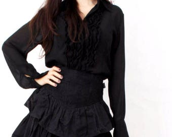 Vintage Black Shirt / Ruffled Blouse / Ruffle Shirt / Sheer Black Blouse / Ruffle Blouse / Button Down Shirt / Size M / L