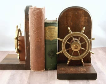 Nautical Bookends, Ships Wheel Bookends, Vintage Bookend, Wood Gold Brass, Library Office Decor, Man Cave, Nautical Nursery