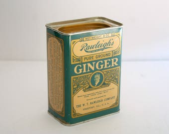 Rawleigh's Ground Ginger Tin, Vintage Spice Tin, Collectible Kitchen Decor, 8oz Tin, Teal Gold Ginger Tin, Pure Ground Ginger