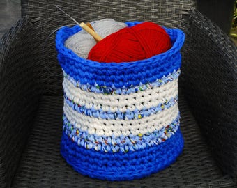 Large basket for craft supplies laundry basket for toys storage bin accessory organizer cotton chunky crochet basket with handles hygge gift