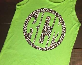SHOP SALE Cheetah Print Reverse Monogram Tank - Comfort Colors