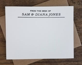 Custom Letterpress Stationery | Personalized Notecards | Black and Kraft