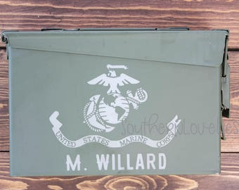 Personalized Marine Corps Flag Ammo Can - 30 cal Ammo Box USMC