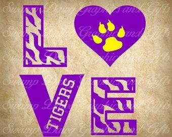 Football svg, tigers svg, silhouette, cricut, cut file, digital file, tiger sports, LSU football, baseball, vinyl, htv, heart, love, tiger