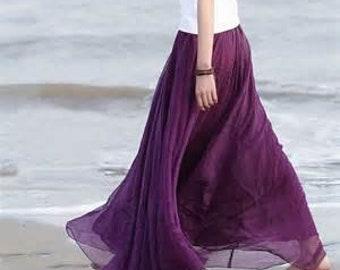 Long Chiffon Skirt - Maxi Chiffon Skirt - Wedding Skirt - Bridesmaid Dress - Womens Custom Skirt - Flowing Maxi Skirt - Skirt by breauxsews