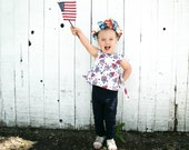 4th of July outfit - Girls tops - Toddler girls shirt - Summer clothes for girls - Independence Day - Girls birthday shirt
