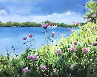 Minnesota Lake Painting watercolor original Como Park Pavilion