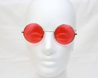 """Vintage """"REGIS"""" JOHN LENNON Style Round Sunglasses with Red Colored Lenses"""