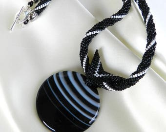 Black White Agate Pendant Necklace Round Stone Pendant Beaded Rope Necklace White Stripes Stone Pendant by alfaStudioArtistica