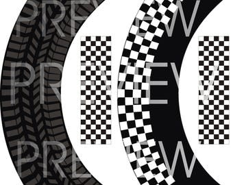 Instant Download tire mark and checkered cupcake wrap