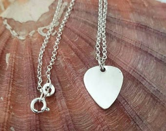 Silver Plectrum Necklace - Hallmarked Pendant - Guitar Pick Pendant Jewellery - Music - Sterling Silver - Handmade Silver Jewellery