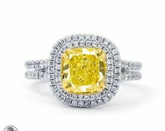 Diamond Engagement Ring,Canary Diamond Engagement Ring,Double Halo Engagement Ring,Yellow Diamond,Split Shank Ring | LDR02171A