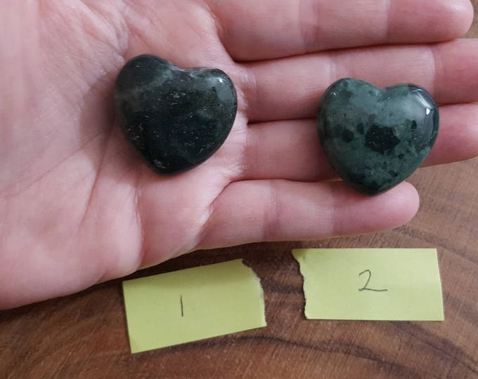 Moss Agate ~ One Reiki infused 30mm gemstone heart