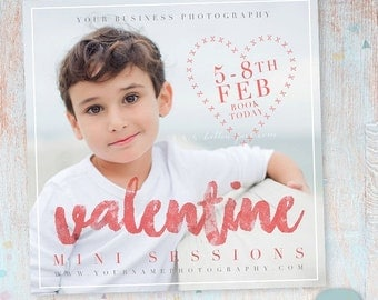 ON SALE Valentines Mini Sessions Photography Marketing Template  - Photoshop template - IV018 - Instant Download