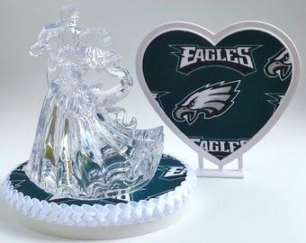 Wedding Cake Topper Philadelphia Eagles Football Themed Clear Bride Groom Dancing First Dance Heart Pretty Turf Top Sports Fans Fun w/Garter