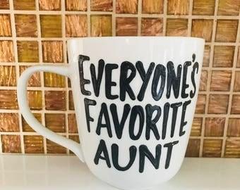 everyones favorite aunt- everyones favorite uncle coffee mug- aunt mug uncle mig - secret santa christmas gift best aunt ever best uncle eve