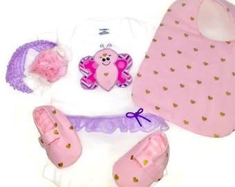 Baby Girl Onesies Butterfly Set Bodysuit Baby Bib Bootie Headband Shower Gift Infant Girl Clothes Soft Sole Shoe Newborn Pink Purple Baby