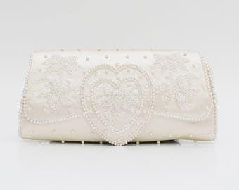 White Beaded Wedding Clutch - Vintage 1960s Beaded Handbag