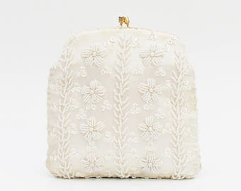 Ivory Floral Beaded Handbag - Vintage 1950s White Beaded Wedding Purse