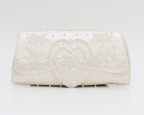 Vintage 1960s White Beaded Wedding Clutch