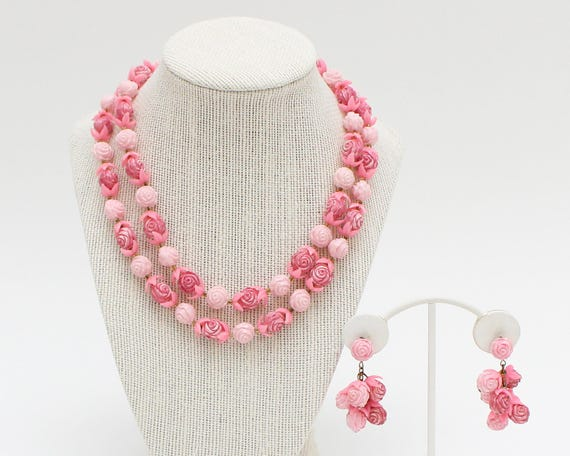 Vintage 1950s Pink Carved Rose Beaded Necklace and Earrings Set