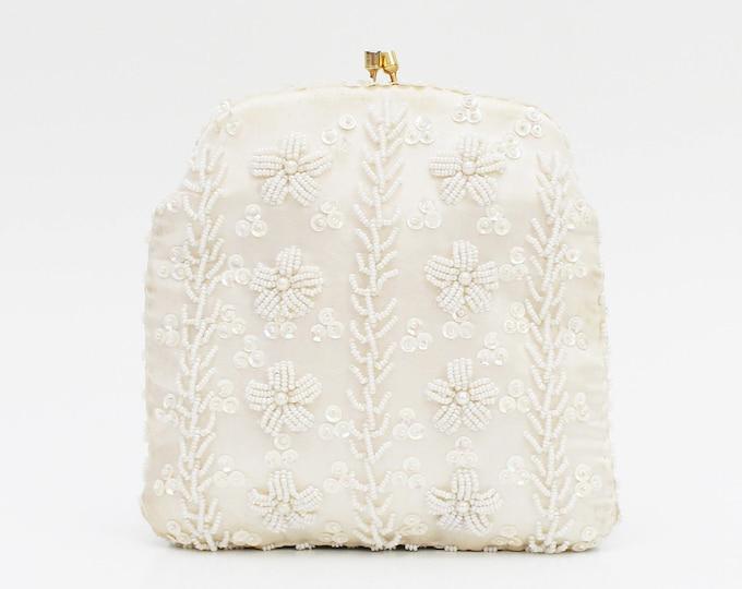 Vintage 1950s Ivory Floral Beaded Handbag - Made in British Hong Kong