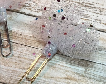 White Sequin Tulle Clip - Ribbon Planner Clips / Bookmarks