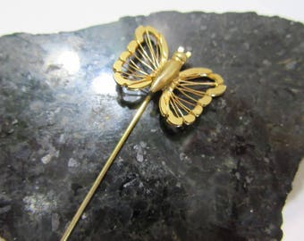 Vintage Butterfly Stick Pin Gold Tone Open Work