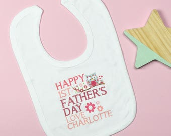 Personalised First Father's Day Bib - Pink or Blue