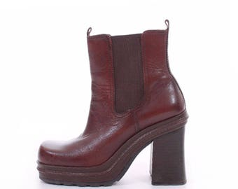 90s Platform Boots Chunky Boots 90s Platforms Brown Leather Boots Ankle Boots Vintage Boots Women's Size US 6.5/ UK 4.5 / EUR 37-38