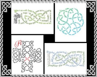 Calligraphic Celtic Knot Greeting Cards