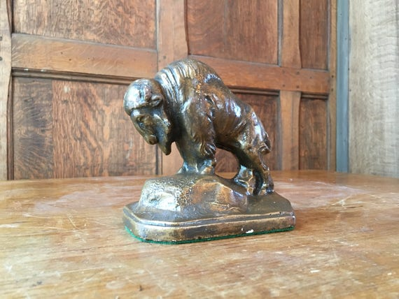 Vintage Bison Statue, Ceramic Bison, American Buffalo Decor, Desktop Office Decor