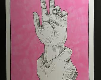 A5 Hand grabber drawing - Original piece