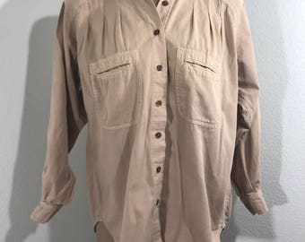 VINTAGE 80s Outback Red Women's Tan Button Down Long Sleeve Shirt Size Small