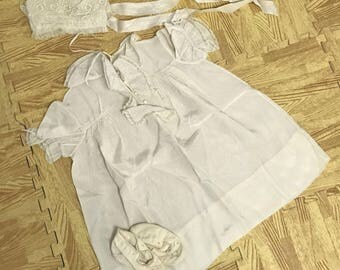 Mid Century Christening Set Gown, Bonnet & Booties (NO LACES)