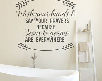 CLEARANCE SALE Bathroom Wall Decor, Bathroom Decor, Black, Bathroom Wall Decals, Jesus and Germs, Wall Decals, Wall Decal, Bathroom Wall Art