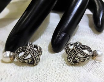 Vintage Sterling Silver Signed Cultured Pearl and Marcasite Stone Earrings