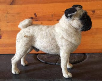 Needle Felted Pug by Chicktin Creations