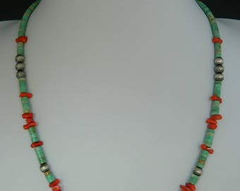 """Native American Santo Domingo Green Turquoise Heishi Red Coral Sterling Silver Necklace 21"""""""
